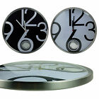 33.5cm Thin Aluminum Wall Clock with Curve Glass Hidden Pendulum Large Number