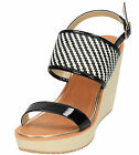Ladies Dolcis Black White Tan Patent Wedge High Heel Platform Sandals Peep Shoe