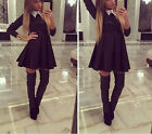 Fashion Women Lady Polo Neck Long Sleeve Blouse Slim Cocktail Skater Mini Dress