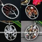 1x Oval Wire Wrap Life-Tree Chips Charm Gemstone Pendant Beads For Necklace DIY