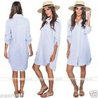Fashion Womens Long Sleeve Button Casual Long Blouse Party Mini Shirt Dress
