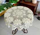 36'' 48'' Round Beige Cotton Handmade Crochet Lace Tablecloth Doily Doilies G02