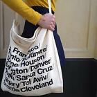 Women Letters Print Canvas Handbag Shopping Bag Tote Shoulder Messenger Bag LJ