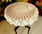 32'' Round White Beige Cotton Handmade Crochet Lace Tablecloth Doilies N02