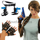 BROWN PLAIT WIG BIKER GLOVES GUNS & HOLSTERS MOVIE CHARACTER FANCY DRESS COSTUME