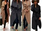 Celeb Kim Kardashian Crepe Waterfall Oversized Belted Coat Womens Classy Jacket