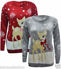 New Ladies Girls Deer Boucle Knitted Christmas Jumper Top