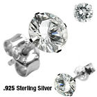 1 Pair Clear Gem Ear Piercing Earrings Sterling Silver 22g - Choose Gem Size #E2