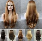 "24""Front lace long straight blonde side parting black golden synthetic women wig"