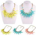 Hot Fashion Women Turquoise Shell Coral Tessal Chunky Choker Statement Necklace