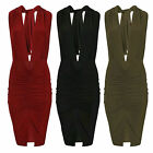 Women Ladies Slinky Multiway Centre Ruched Gathered Party Dress Bodycon 8 - 14