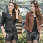 Perfect Women New Black/Brown Motorcycle Synthetic Leather Zipper Jacket Coat