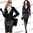 Womens Contrast Illusion Grain Leather Wear to Work Business Bodycon Skirt 1606