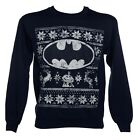 Official Batman Logo Fair Isle Navy Blue Christmas Jumper Sweatshirt - DC Comics