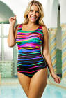 "LONGITUDE Plus Size 18W ""Heatwave"" Multi-Color X Back Swimsuit *NWT $99"