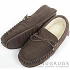 Mens Genuine Suede Moccasin / Sheepskin Slipper Hard / Rubber Sole Dark Brown