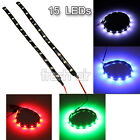 2X 30cm 3528SMD 15 LEDs Strip Light Flexible Waterproof 12V DIY Car Trucks Decor