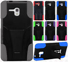 For Alcatel ONETOUCH Fierce XL Advanced Layer HYBRID KICKSTAND Rubber Case Cover
