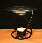 Oil burner thick swirl black metal glass gift present & tea light candle and oil