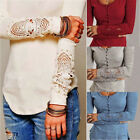 New Stylish Womens Long Sleeve T Shirt Casual Lace Blouse Loose Cotton Tops Tee