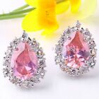 Pink Purple Crystal Cubic Zirconia Bead Teardrop Heart Earring Stud Bib 1pair