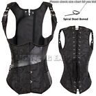 Gothic Steampunk Corset Underbust Waist Training Strong Lace Up Bustier Vintage