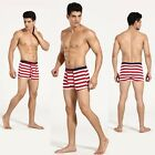 New Red Stripe Pure Cotton Men's Seamless Soft Underwear Mid-waist Boxer Brief