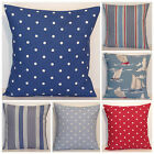 Clarke and Clarke Mix Match Nautical Boats Red Blue Stripe Spot Cushion Cover