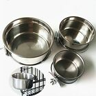 3 Size Stainless Steel Food Water Bowl For Crates Cages Coop Dog Parrot Bird Pet