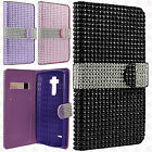 At&t LG G Vista 2 Leather Bling Diamond Wallet Pouch Flip Case +Screen Protector