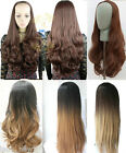 OMBRE DIP DYE Long Straight Wavy Loose Curly Half Head Wig, 3/4 Weave, Xmas Gift