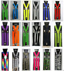 MENS LADIES UNISEX ADJUSTABLE SLIM PRINTED BRACES TROUSER SUSPENDERS FANCY DRESS
