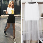 Women Sexy Clubwear Black White Sheer Mesh See-Through Layered Long Maxi Skirt