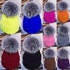 Child Baby Women Winter Knit Beanie Raccoon Fur Pom Bobble Hats Crochet Ski Cap