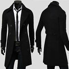 Mens Wool Trench Coat Winter Long Jacket Double Breasted Overcoat Winbreaker NEW