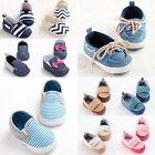 Toddler Infant Baby Shoes Blue Red Stripe Casual Trainer Boy Girl Slip-on 3 Size