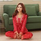 Chinese Red Women Sexy Long Sleeve Silk Nightwear Lace Hem Lingerie Pajamas Sets