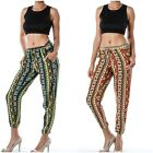 Women's *2HEARTS* Relaxed Aztec Print Caged Elastic Waist Pants S M L 2 Colors