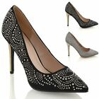 LADIES HIGH HEEL POINT TOE STILETTO WOMENS SPARKLY DIAMANTE PROM PARTY SHOES