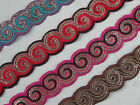 "01 yd Embroidered Trim 1.30"" wide ( Woven Border Sew Jacquard Ribbon ) T308"