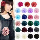 New Ladies Women Girl Satin Peony Flower Hair Clip Hairpin Brooch 23 Colours