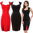 WOMENS VINTAGE 40's 50'S PIN UP OFFICE WIGGLE PENCIL DRESS SIZE 6-20
