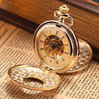 2 Colours Silver Golden Double Case Cover Skeleton Mechanical Mens Pocket Watch