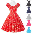 NEW CAP SLEEVE 50's POLKA DOTS VINTAGE SWING PROM WEDDING PARTY DRESS