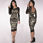Fashion Women Bandage Bodycon Long Sleeve Evening Party Cocktail Lace Mini Dress