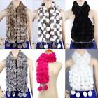 Women Lady Warm POM-POM Faux Rabbit Fur Scarf Collar Soft Neck Wrap Shawl New