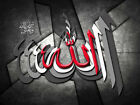 Allah In Arabic 3D Effect Calligraphy On Black/White/Red Islamic Canvas Wall Art