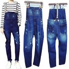Men Classic Washed Denim Jeans Ripped Hole Suspender Trousers Overalls Jumpsuits