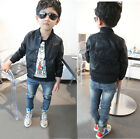 Fashion Girls Boys Skull Print Faux Leather Jackets Trendy Motorcycle Jackets HT