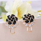 Wonderful Flower Women Elegant 3 Colors Gold Plated Crystal Ear Stud Earrings